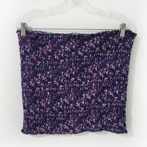3/$20, SO Navy Blue Floral Smocked Tube Top XXL